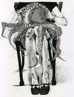 octopus and lady illustration Cthulhu, Illustrations, Illustration Art, Le Kraken, Octopus Art, Octopus Drawing, Octopus Tentacles, Fiction, Black White