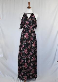 Center Front Length Bust Rayon Imported All measurements taken from a size small Floral Maxi Dress, Cold Shoulder Dress, Boho, Lifestyle, Shopping, Collection, Black, Dresses, Fashion