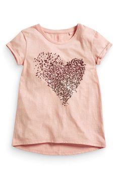 Pink sequin heart T-shirt