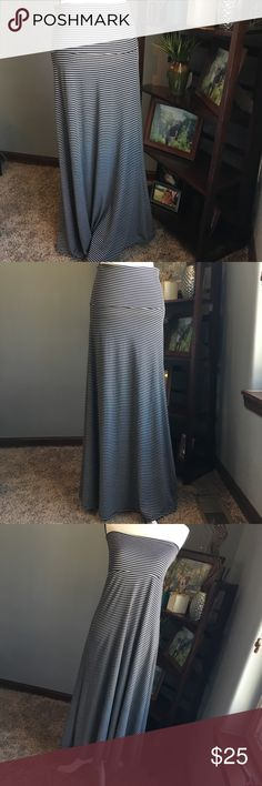 LulaRoe Maxi Skirt Lularoe Maxi Skirt.  Size small.  Black and white stripped.  Can be worn as a maxi skirt or a sleeveless maxi dress.  Pair it with a belt to spice it up! Very well taken care of! Offers and bundles welcome! LuLaRoe Skirts Maxi