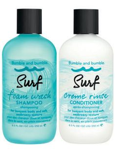 Bumble and Bumble Surf Foam Wash Shampoo and Surf Crème Rinse Conditioner pack softening minerals and sea botanicals, like the original Surf Spray, that will give locks body and enhance natural texture. Perfect for all hair types, this no ocean required duo makes achieving those flawless looking beach waves incredibly easy, leaving us wondering, is it summer yet?