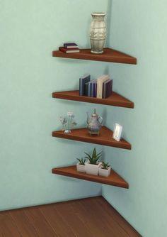 Maxis Match CC for The Sims 4 simdoughnut: sssvitlans: The Mega Minimal Sims Four, Sims 4 Mm Cc, Sims 4 Cc Furniture, Furniture Decor, Corner Shelves, Wall Shelves, Mods Sims, Sims 4 Clutter, Casas The Sims 4