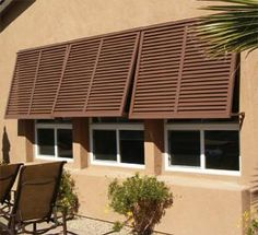 This Non-Impact Bahama Shutter is built to finished dimensions of x The shutter will fit a window wide and high. Non-Impact Bahama Shutters ar Backyard Canopy, Garden Canopy, Canopy Outdoor, Outdoor Decor, Garden Awning, Diy Awning, Metal Awning, Metal Roof, Canopy Curtains