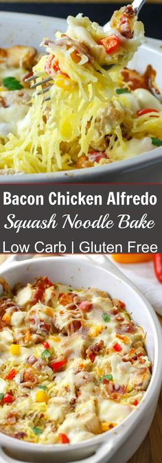 Bacon Chicken Alfredo Squash Noodle Bake - Low Carb & Gluten Free
