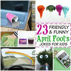 """Kids will LOVE being """"in"""" on these goofy jokes! A BIG list of friendly April Fools Pranks for kids that are FUN for EVERYONE! Updated for (nothing mean or scary here!) Updated for"""