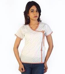 Buy Designer Silver Butie Fancy White Cotton Kurti kurtas-and-kurti online