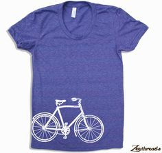 Zen Threads custom printed Bicycle design in eco-friendly ink. Made in the USA. Hand screen pressed to order in Northern California. You choose the size and color! American Apparel Women's short sleev