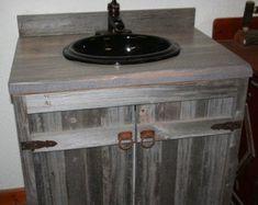 Barn Wood Bathroom Vanity-Single Vanity-or-Double Vanity; Custom Replica Order, Barn Wood, Pine or Cedar Reclaimed Wood Bathroom Vanity, Reclaimed Wood Kitchen, Rustic Vanity, Rustic Bathroom Vanities, Weathered Wood, Bathroom Gray, Vanity Bathroom, Bathroom Ideas, Pallet Bathroom