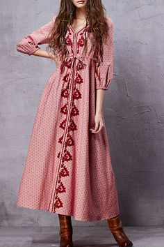 Embroidery V Neck 3/4 Sleeve A Line Dress - PINK M