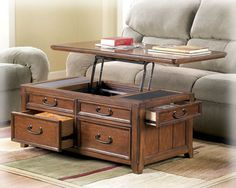 Hugh Java Lift Top Coffee Table Java Storage and Coffee