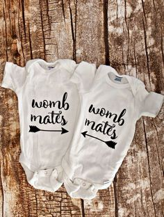 Heading to a baby shower for twins? These onesies are HILARIOUS and they make the perfect gift. Includes ideas for multiple outfits, all of them are awesome!