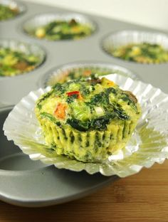 Individual Veggie Quiche Cups To-Go ... a great freezer friendly grab-and-go breakfast {or lunch} option. thekitchenismyplayground.blogspot.com #quiche #breakfast
