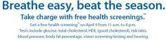Sam's Club Free Health Screening on April 9, 2016 - US