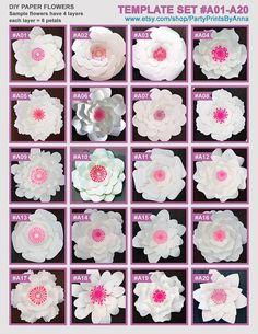 20 PDF Paper Flower Templates 20 printable templates A01-A20