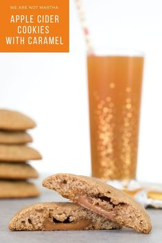 Apple Cider Cookies with Caramel Recipe | We are not Martha Apple Desserts, Apple Recipes, Fall Recipes, Delicious Recipes, Dessert Recipes, Potluck Recipes, Drink Recipes, Cookie Recipes, Cookies