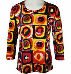 Breeke - Color Study of Squares, 3/4 Sleeve, Scoop Neck, Hand Silk Screened Top