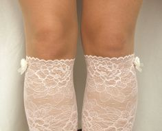 Lace Boot Cuff Socks Light Pink with Ivory by VANAGScreative, $25.00