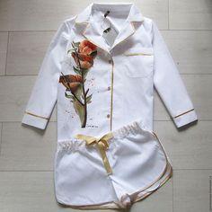 Халаты ручной работы. Ярмарка Мастеров - ручная работа. Купить Дизайнерская пижама с ручной росписью. Handmade. Белый, пижама женская