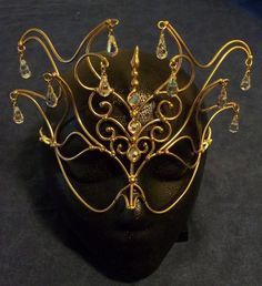 Bronze &  Crystal Princess Mask wire gold crystals