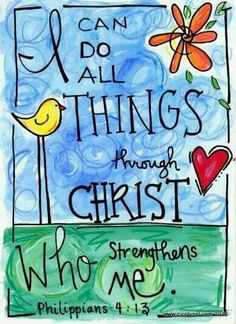 Bible Verse I Can Do All Things Through Christ Phillipians Illustration Print