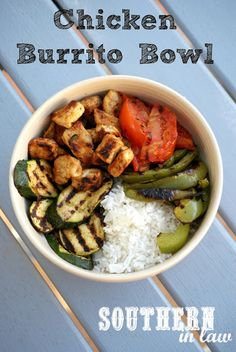 Healthy Chicken and Rice Burrito Bowl - Gluten free, low fat recipe