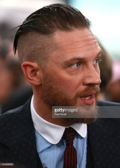 Tom Hardy arrives at the 'Dunkirk' World Premiere at Odeon Leicester Square on July 2017 in London, England. Tom Hardy Dunkirk, Peaky Blinder Haircut, Tom Hardy Hot, New James Bond, Tommy Boy, Undercut Hairstyles, Men's Grooming, Haircuts For Men, Celebrity Crush