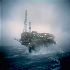 oil rigs in storms | Figure 1. Brent Charlie rig in a storm. Courtesy: Shell Exploration ...