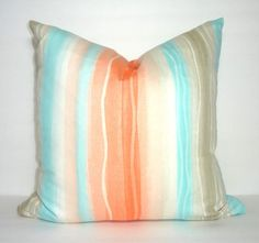 OVERSTOCK SALE Waterfall Orange Tan Aqua Blue Pillow by HomeLiving
