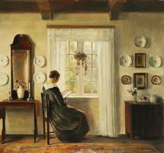 Carl Vilhelm Holsoe (Danish, 1863–1935). Title:     Interior with the painter's wife reading at the window. Oil on canvas