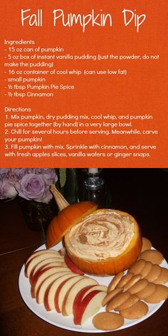 Fall Pumpkin Dip Recipe by Carolina Charm - I made this and it's out of this world. My husband thought it would be equally awesome in a pie crust. The only thing I changed was I mixed the cinnamon in with the pumpkin pie spice.