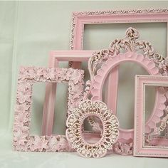 Shabby Chic Picture Frame Pastel Pink Picture Frame Set Ornate Frames... ($129) ❤ liked on Polyvore featuring home, home decor, pictures, backgrounds, frames, photos, borders and picture frame