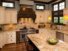Granite with white cabinets