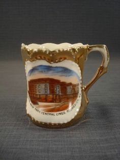 Rare Antique Souvenir Cup New York Central RR Depot Rochester NY Porcelain