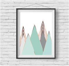 Mint Mountain Print Scandinavian Art Mint & Copper by PrintAvenue