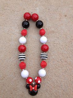 Minnie Mouse Chunky  Red, White and Black Necklace