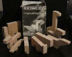 Creative Playthings Building Zoo Wood Animal Blocks w Box   eBay