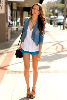 loose top and blazer with shorts