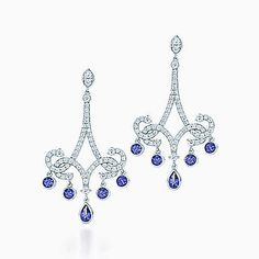 Tiffany Enchant® scroll earrings in platinum with tanzanites and diamonds.