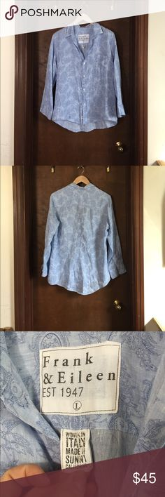 Frank & Eileen Barry Linen Paisley Button Down Blue paisley Button Down Shirt from Frank & Eileen. 100% Linen and in new without tags condition! Light blue background with a dark blue Paisley pattern. Size large.   A button-down shirt that lets you breathe. Frank & Eileen add comfort to a classic style with a lightweight linen on this Barry top with a tonal paisley pattern. frank & eileen Tops Button Down Shirts