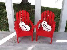 Adirondack Beach Chair Cake Topper /Red/ Mr by NauticalWeddings