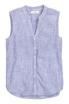 Blusa de algodón sin mangas - Azul/Rayas - MUJER | H&M ES