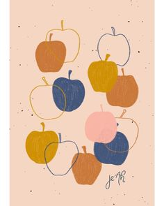 Illustration by Jeah Design. Illustration by Jeah Design. Apple Illustration, Pattern Illustration, Apple Prints, Japanese Tattoo Art, Fruit Pattern, Cute Wallpapers, Pattern Design, Print Patterns, Art Paintings