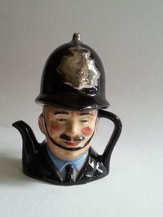Artone Miniature Teapot Vintage English Bobby Handpainted  Staffordshire District of England