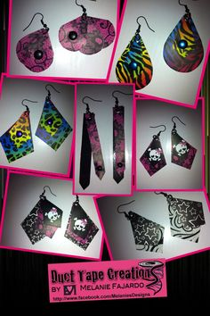 Items similar to Duct Tape Earrings Any Style on Etsy Duct Tape Projects, Washi Tape Crafts, Duck Tape Crafts, Craft Projects, Craft Ideas, Duct Tape Earrings, Duct Tape Jewelry, Earring Crafts, Bead Crafts