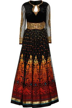 Black and maroon embroidered anarkali set by Tarun Tahiliani. Shop now: www.perniaspopups.... - some unique and fiery colors I don't have.
