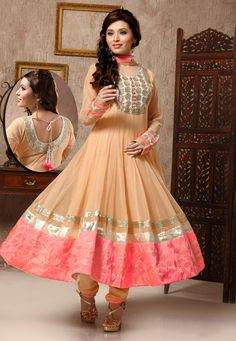 Fawn Net Readymade #Anarkali Churidar Kameez #OnlineShopping: KCR5557