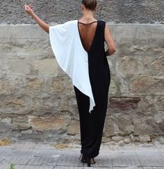 Black backless dress Maxi Dress Caftan por cherryblossomsdress