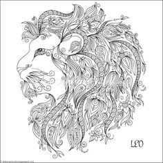 Pattern for coloring book. Hand drawn line flowers art of zodiac Leo. Horoscope symbol for your use. For tattoo art, coloring books set. Lion Coloring Pages, Coloring Pages To Print, Coloring Books, Coloring Sheets, Zodiac Signs Leo, Zodiac Art, Doodle Art, Graphic Prints, Flower Art