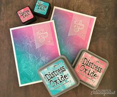 Stamping With Water - Colorful Encouragement. This should work with Brushos too. Card Making Designs, Card Making Tips, Card Making Tutorials, Card Making Techniques, Making Ideas, Druckfarben Im Distress-look, Distress Ink Techniques, Paint Techniques, Timmy Time