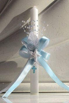 Gift Baby Boy Baptism Christening Cross Candle by Christening1965